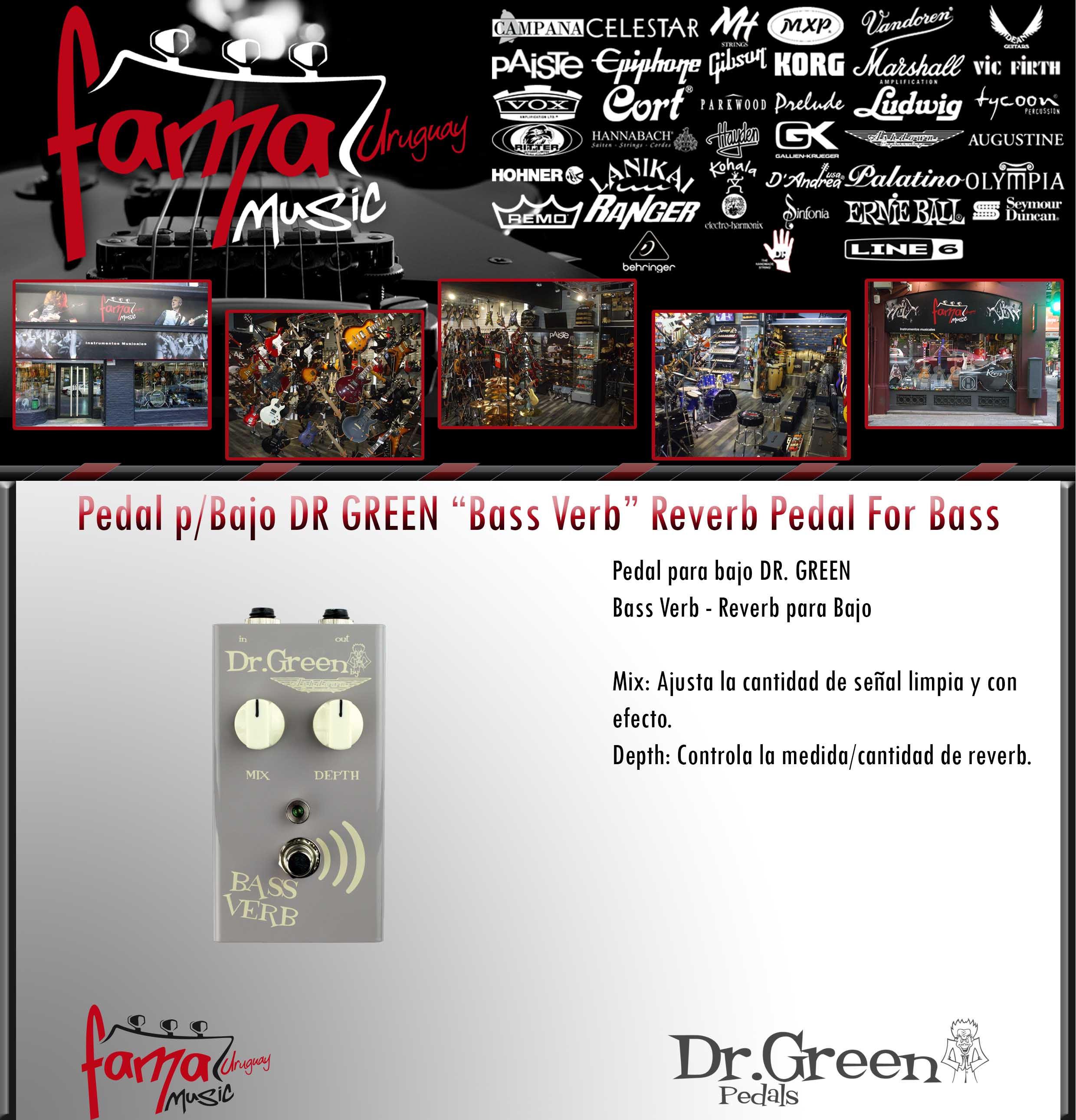 Pedal pBajo DR GREEN Bass Verb Reverb Pedal For Bass