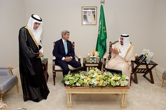 U.S. Secretary of State John Kerry sits with King Salman bin Abdulaziz of Saudi Arabia and Deputy Crown Prince and Saudi Foreign Minister Adel al-Jubeir at the Four Seasons Hotel in Washington, D.C., on September 3, 2015, during a bilateral meeting preceding the King's visit with President Barack Obama. [State Department photo/ Public Domain]