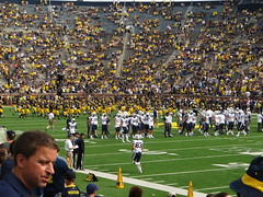 Michigan and BYU Teams Gathering Before Leaving Field, Michigan Stadium, University of Michigan, Ann Arbor, Michigan