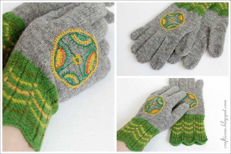 Green embroidered gloves