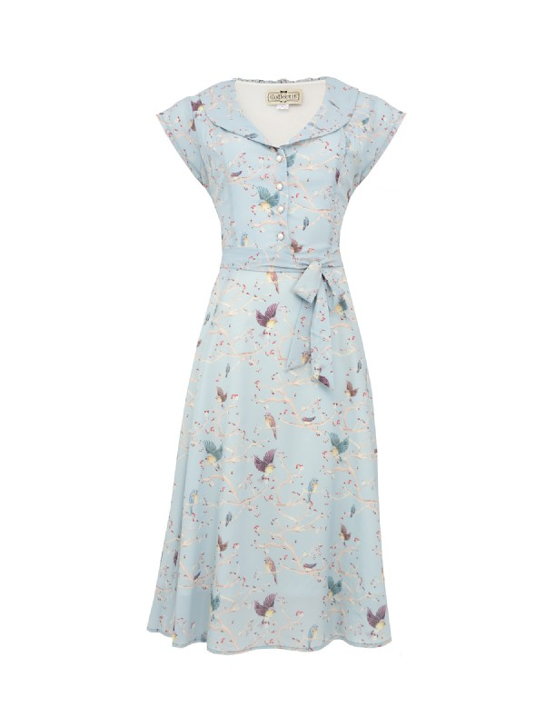 Violet enchanting Bird Print Dress Cutout (2)