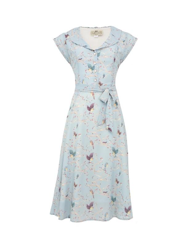 Violet enchanting Bird Print Dress Cutout (2)