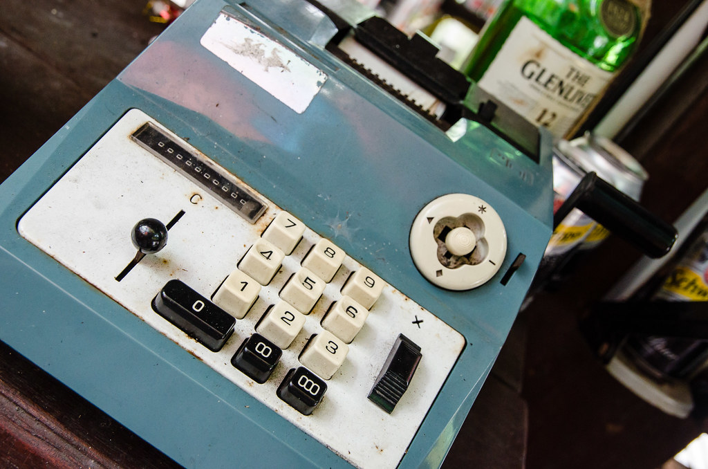 Antique Calculator at Busy Bodhi Cafe