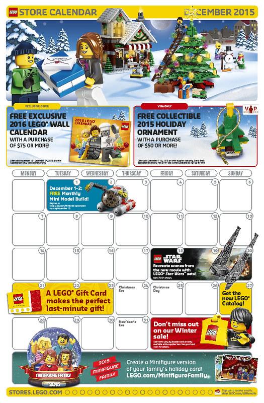 LEGO Shop December 2015 Calendar
