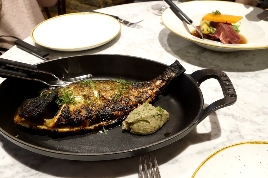 The Ninth: Whole roast sea bream, lemon and miso, smoked aubergine