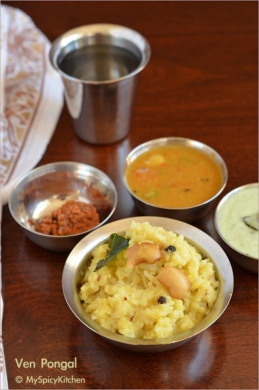 Ven Pongal with sambar, chutney and pickle.