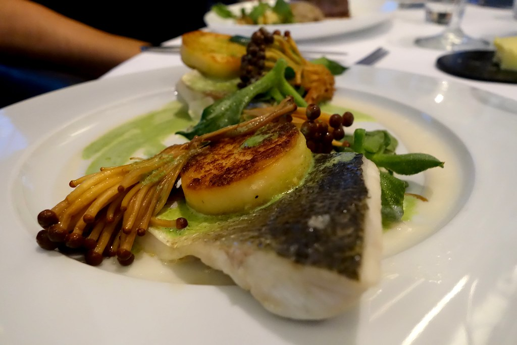 Sea Bass, new seasons garlic gnocchi, brown enoki mushrooms, ice lettuce, almond and sorrel, OXO Tower Restaurant, London