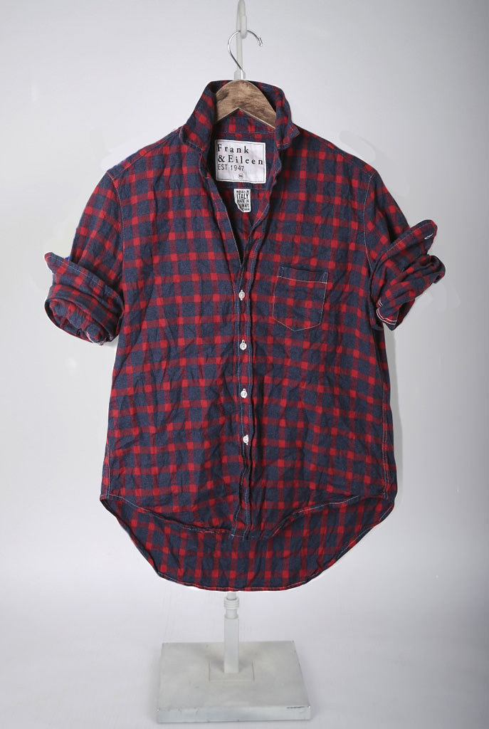 The Eileen Shirt - Large Navy & Red Grid