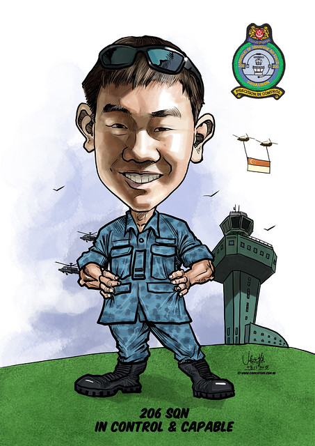 digital caricature for Singapore Air Force - Christoper Lin