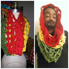 Just finished. Red gold and green mesh cowl. #crochet #thatpoetryhost #crochetersofinstagram #style #rasta #streetlight #model