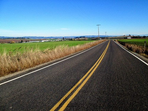 Corvallis Rd; Mt Hood on the left, Mt Jefferson on the right