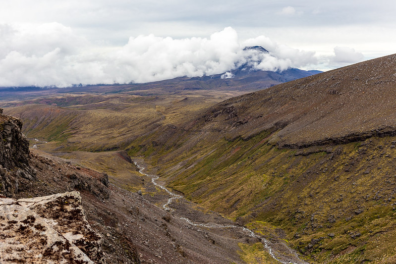 Whakapapanui Stream and Mount Ngauruhoe