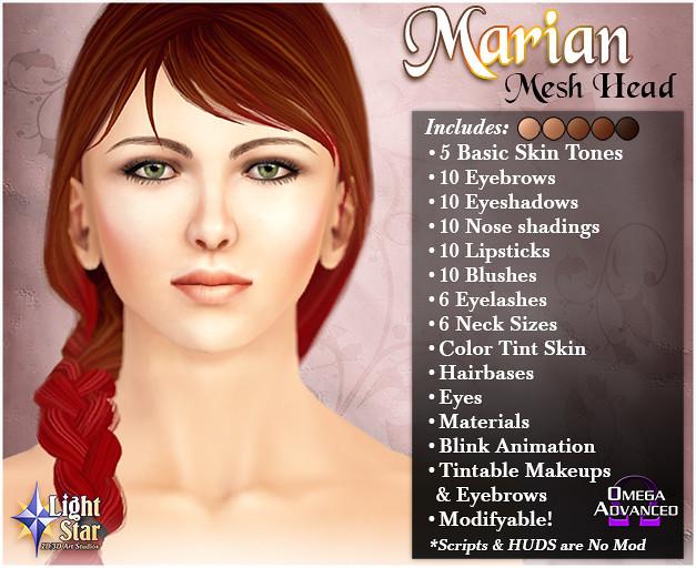 *LightStar Mesh Head - Marian - SecondLifeHub.com
