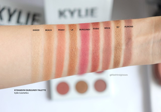 Kylie Cosmetics Kyshadow Burgundy Palette swatches