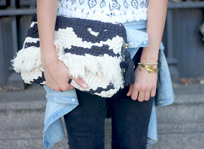 Black Ripped Jeans Tribal Top clutch summer outfit11