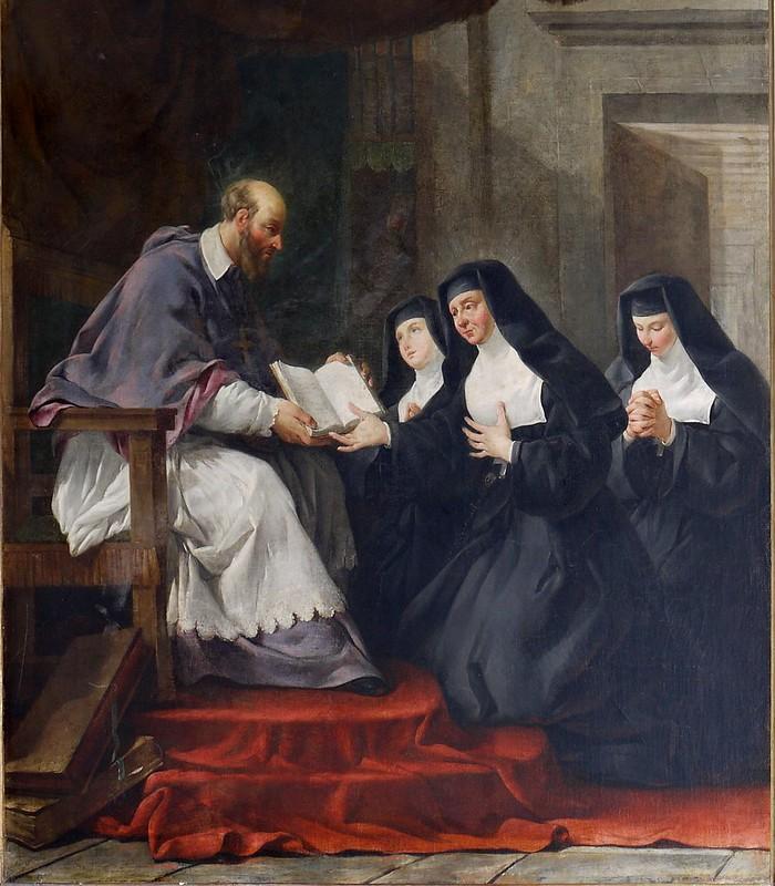 Noël Hallé - Saint François de Sales donnant à sainte Jeanne de Chantal la règle de l'ordre de la Visitation
