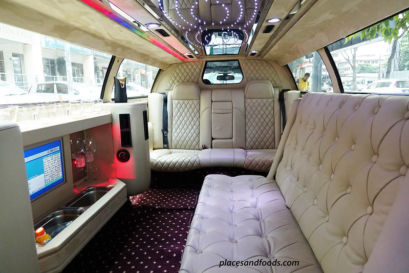 grabcar luxury limo interior leather bench