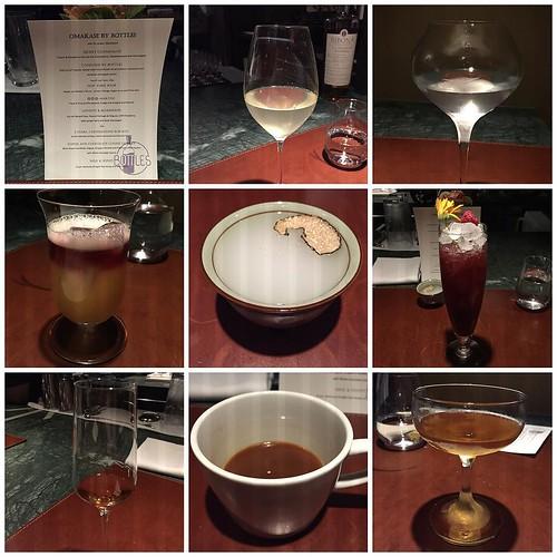 """Avslutar helgen grandiost. @bottlesbar s omakase (kocken - eller i kväll bartenderkollelktivet -) väljer. 8 drinkar, """"föreläsning"""" och umgänge på knappt tre timmar. Väldigt, väldigt bra."""