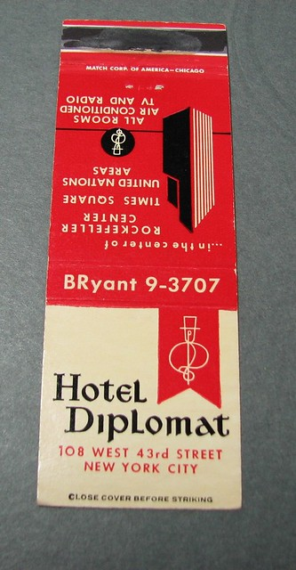 Hotel Diplomat, NYC, NY (Matchbook Cover - Jason Castlebury Collection)