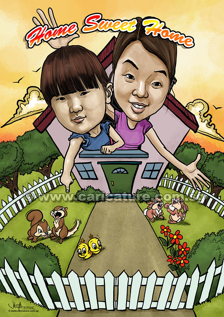 Mother and daughter digital caricatures - Home Sweet Home (watermarked)
