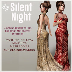 LEGENDAIRE SILENT NIGHT GOWN WITH EARRINGS AND CLUTCH