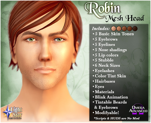 *LightStar Mesh Head - Robin - SecondLifeHub.com