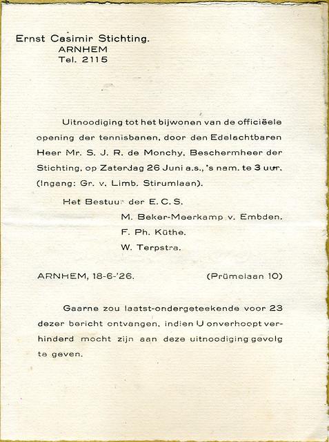 Opening tennisbanen Ernst Casimirstichting