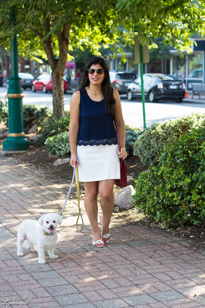 navy scalloped lace top, white mini skirt, red coach bag.jpg
