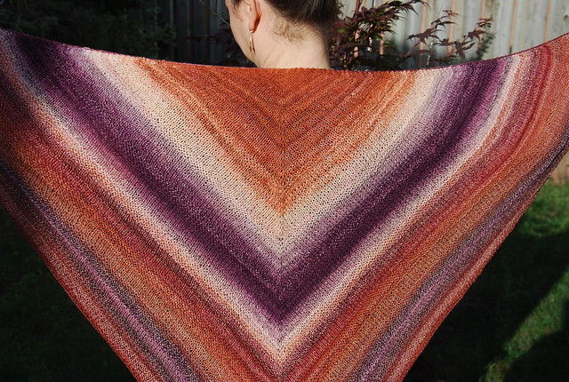 handspun Diminishing Lines shawl by irieknit