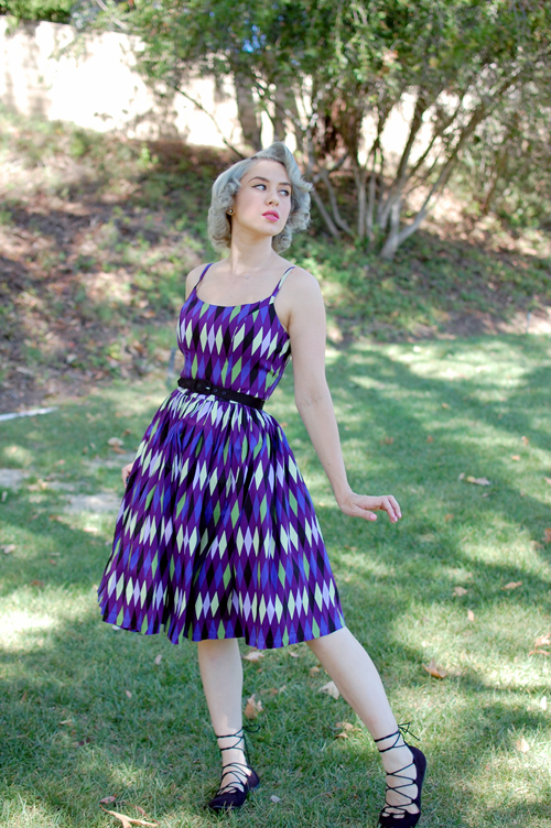 Pinup Girl Clothing Jenny dress in Purple Harlequin print