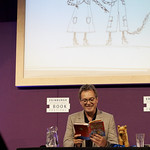 Julian Clary | Julian Clary laughing like a hyena in his event with David Roberts © Helen Jones