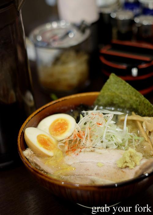 Misono miso ramen with pork rib char siu at Sapporo Ramen Kyowakoku or Sapporo Ramen Alley, Hokkaido
