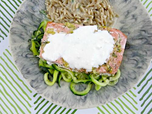 Lemon-Dill Salmon with Feta Cream Sauce