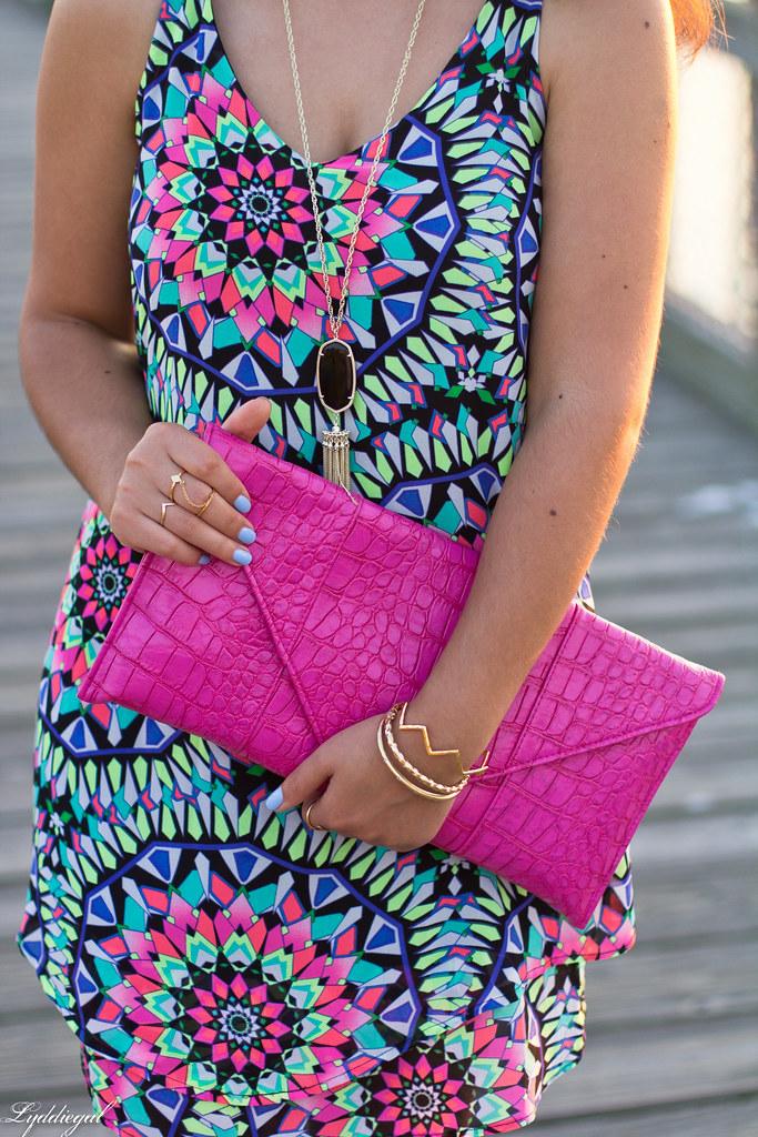 kaleidoscope print swing dress, pink clutch-7.jpg