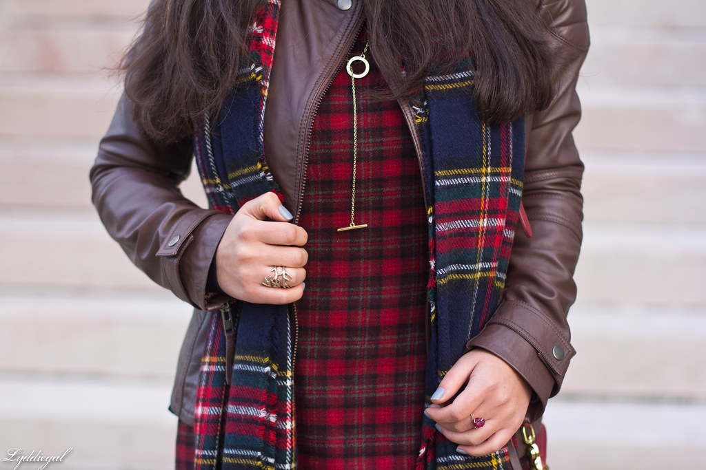 plaid dress, brown leather jacket, brown boots-4.jpg