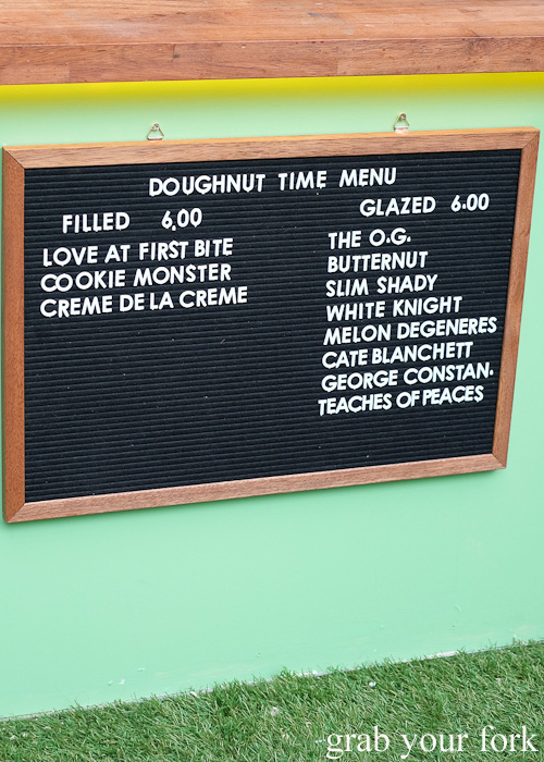 Doughnut Time menu at Central Park, Chippendale