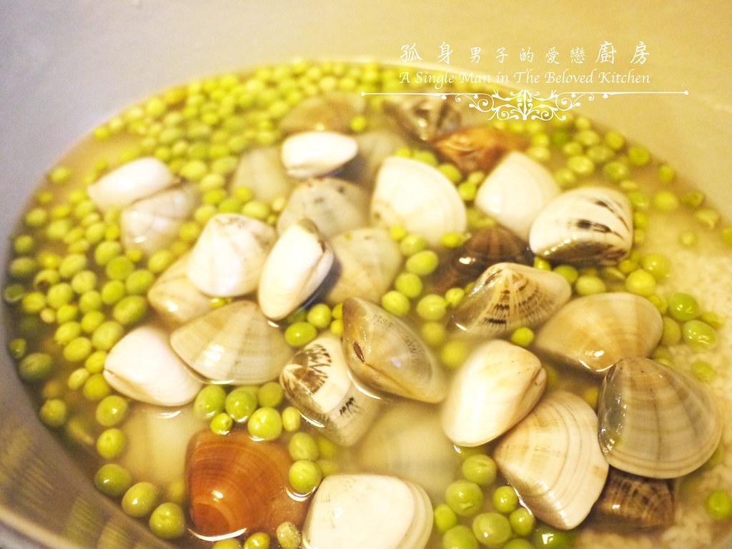 孤身廚房-海瓜子豌豆炊飯。《LE CREUSET鑄鐵鍋飯料理》試做11