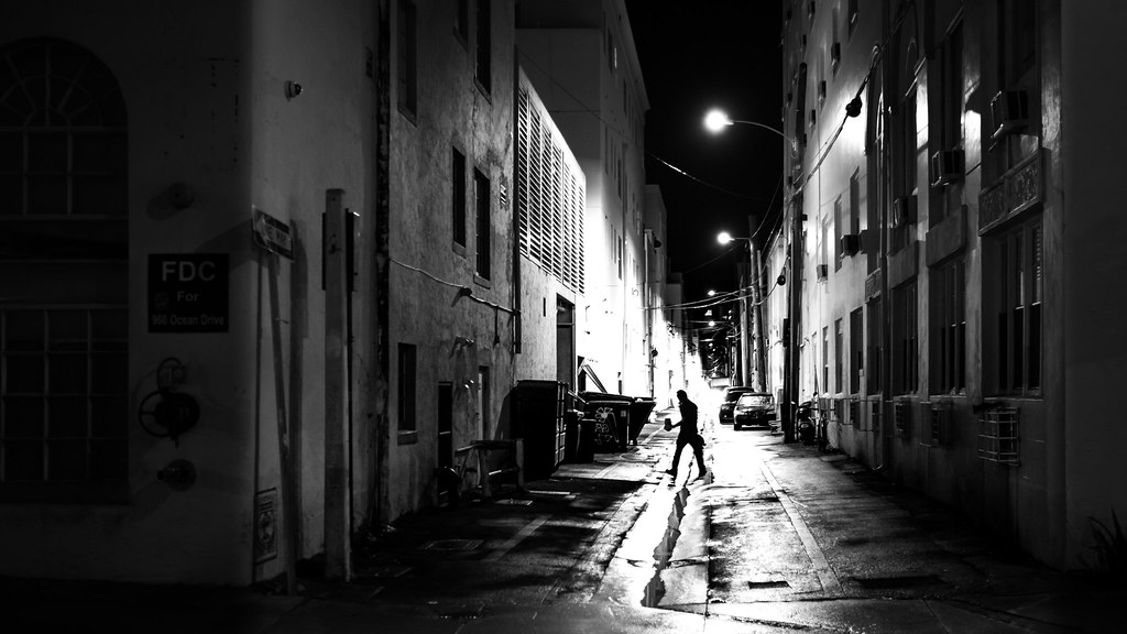 Working at night miami florida black and white street photography