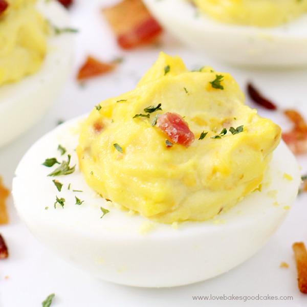 These Bacon Cheddar Deviled Eggs are the perfect appetizer! Quick, easy and delicious! #BaconMonth2015