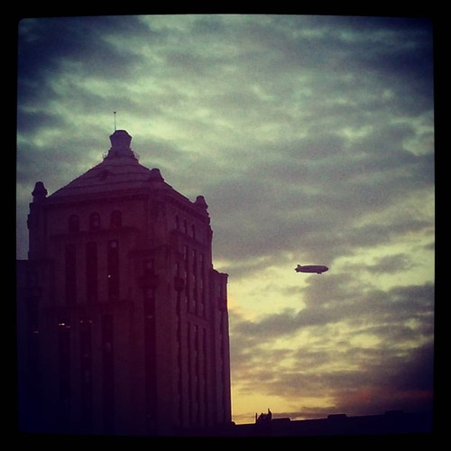There's a blimp hovering just north of downtown. It must be in town for the big #Cincinnati versus #Miami football game.