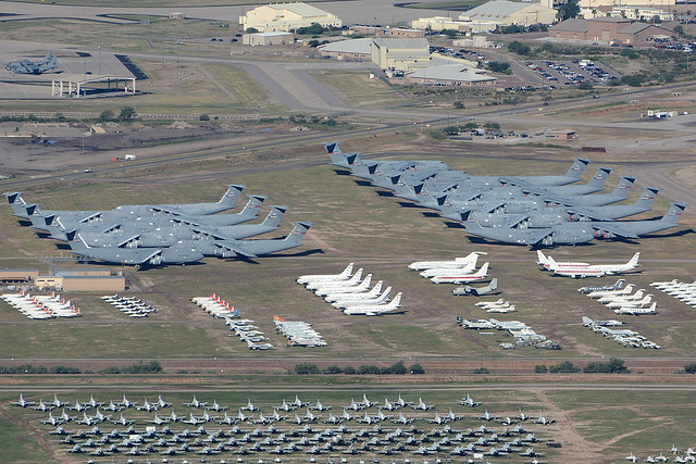 Line up of C5A at AMARG Davis Monthan AFB.230915