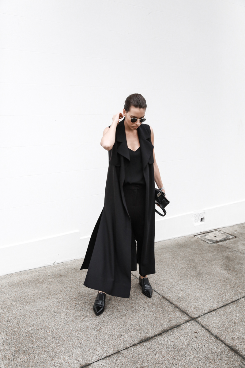 all black street style, minimal, sleeveless coat, Stella McCartney Loafers, Camilla and Marc cami, American Express Shop Small, fashion blog, modern legacy (1 of 1)