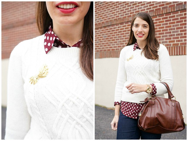 Loft acorn blouse + cable knit sweater + burgundy ankle boots 2