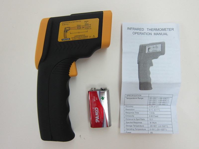 Nubee NUB8380 Temperature Gun - Packaging Contents