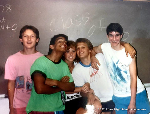 1992 AHS classmates during 1991-1992 Senior year Ames High left to right: Jeremy Moore  Scott Belzer Julie Nordyke  Chad Steenhoek and Mark Robinson Location: Ames High School in Ames, Iowa.