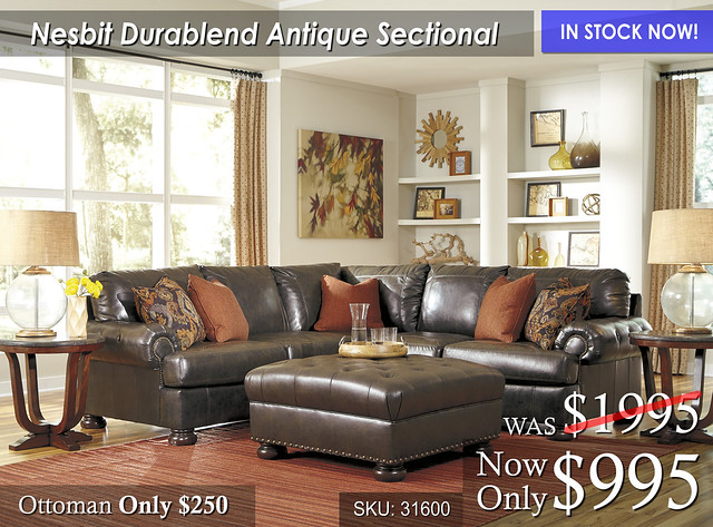 Nesbit Durablend Antique Sectional In Stock