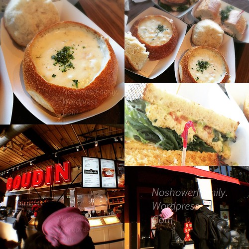 Boudin : clam chowder, shrimp sandwich