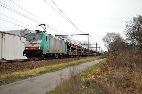 BLX 2827 met Suzuki-autotrein tussen Londerzeel en Kapelle-op-de-Bos