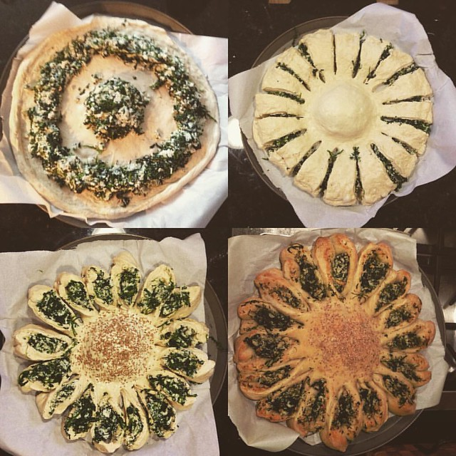 Sunflower spinach pie. #spanakopita