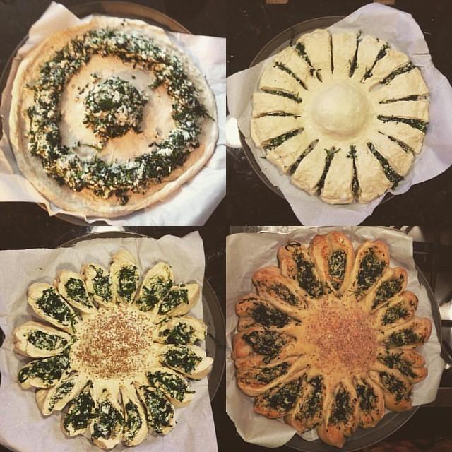Sunflower spinach pie. #spanakopita